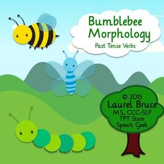 Bumblebee+Morphology+targets+regular+and+irregular+past-tense+verbs+using+the+visual+cues+of+a+bumblebee+and+a+caterpillar/butterfly.++Directions:Students+can+practice+past-tense+verbs+using+the+included+cards.-18+pairs+of+bumblebee+practice+cards+target+regular+past-tense+verbs+which+add+an+ed+morpheme+(shown+on+the+bees+stinger).+-21+pairs+of+caterpillar/butterfly+practice+cards+target+irregular+verbs,+as+these+verbs+undergo+a+kind+of+metamorphosis+to+form+the+past+tense.