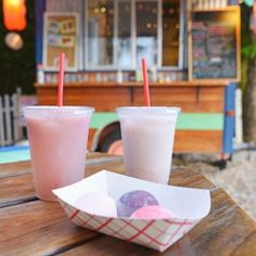 Vegan mochi ice cream, tong sui and lychee rose float from Frozen Rickshaw