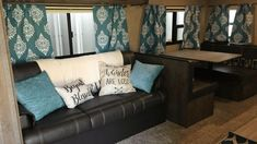 To brighten up and personalize your RV living space, try a splash of color with curtains and throw pillows. One of the best ways of rejuvenating your dark RV interior is by updating your RV window treatments. Check out these simple, affordable RV window treatment ideas.