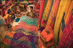 Indian textile marketplace - look at those colors!