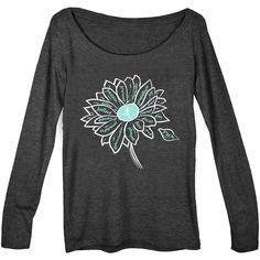 Women's Runner Scoop Neck Long Sleeve Tee Inspiration Flower