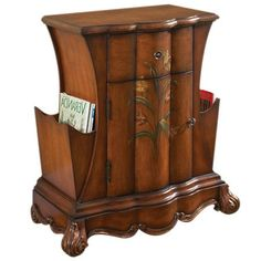 Wood accent chest with two side shelves.     Product: Accent chestConstruction Material: Wood composites and sele...