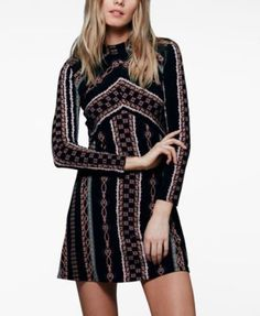 I just bought this and it's SO cute with tights and my short Moto boots. Love it.  People Stella Printed Mini Dress | macys.com