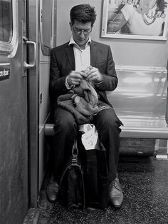 Knitting on the L train ;-)