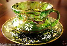 Bohemian Czech Moser Enameled Green Glass Cup & Saucer w/ Lots of Gold
