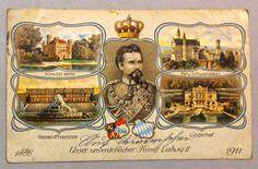 Orginal alte Postkarte von 1914 Unser unvergeßlicher König Ludwig II. 1886 - 1911 Schloß Berg Neu Schwanstein Herren Chiemsee Linderhof $15.00