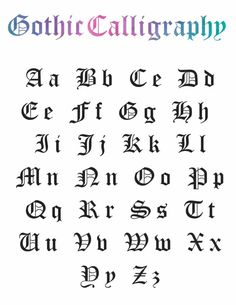 """Add """"gothic calligraphy"""" to your calligraphy skill set with the help of this free printable worksheet! Calligraphy Letters Alphabet, Gothic Alphabet, Calligraphy Worksheet, Hand Lettering Alphabet, How To Write Calligraphy, Calligraphy Handwriting, Alphabet Design, Calligraphy Art"""
