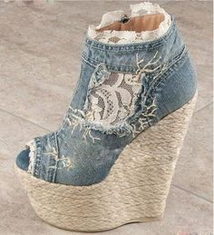 Denim and lace Wedges Wedge Ankle Boots, Heeled Boots, Shoe Boots, Shoes Heels, Wedge Heels, Boot Heels, Ankle Socks, Heeled Sandals, Dress Shoes