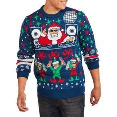dj santa mens ugly christmas sweater size medium