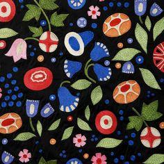 VIENNASL106  INSPIRATION  Wiener Werkstätte,  Ground Black / 100%Silk  Hand Embroidery Silk / Rayon
