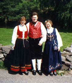 Norwegians in traditional clothes from their districts/counties