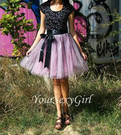 Pink and Black Tulle Tutu skirt by YouSexygirl on Etsy
