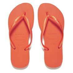 Havaianas Women's Slim Flip Flops - Neon Orange ($35) ❤ liked on Polyvore featuring shoes, sandals, flip flops, orange, thong strap sandals, rubber shoes, strappy thong sandals, orange thong sandals and havaianas sandals