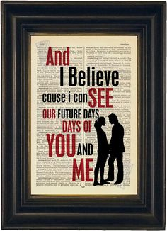 Pearl Jam Future Days Lyric Print on repurposed Vintage Dictionary Page mixed media  digital Typography Print
