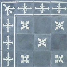 Cement Tile — Cadiz (corner, solid, pattern, and border all the same size tile; custom colors available)