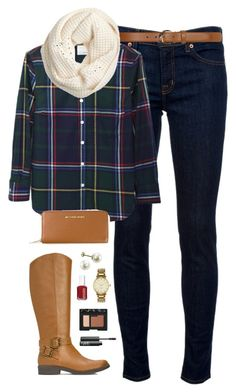 """plaid"" by classically-preppy ❤ liked on Polyvore featuring J Brand, Band of Outsiders, Dorothy Perkins, J.Crew, JustFab, MICHAEL Michael Kors, Essie, Kate Spade and NARS Cosmetics"