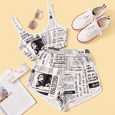 Shop Newspaper Print Top With Shorts at ROMWE, discover more fashion styles online. Girls Fashion Clothes, Girl Fashion, Fashion Outfits, Cute Summer Outfits, Cute Casual Outfits, Sewing Kids Clothes, Fashion Dictionary, Trendy Fashion, Womens Fashion