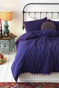 Urban Outfitters Magical Thinking Purple Pom-Fringe Duvet Full Queen 86 X 86 in Home & Garden, Bedding, Duvet Covers & Sets   eBay