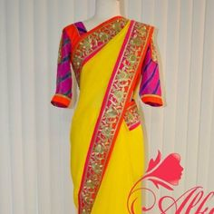 Bright yellow saree & orange blouse - Indian Pure chiffon yellow saree with pink & orange boarder. Blouse is special attraction. Comes with yellow satin skirt. We customize to your size. Louis Vuitton Dresses