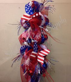 2014 4th of July deco mesh swag with shiny stars, ting and butterflies