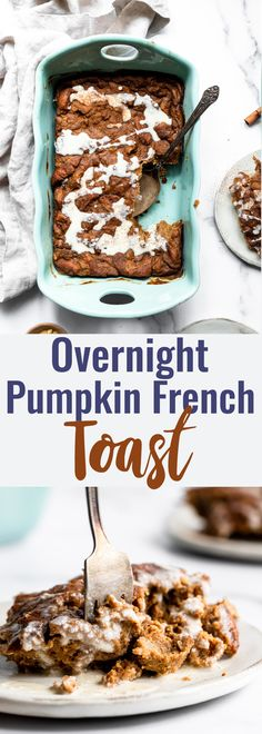 An easy baked Baked Pumpkin French Toast Casserole with the flavors of pumpkin pie. Prepare it the night before for a quick and delicious breakfast! Healthy Breakfast Snacks, Savory Breakfast, Clean Eating Snacks, Pumpkin Breakfast, Breakfast Recipes, Breakfast Ideas, Morning Breakfast, Healthy Sweets, Healthy Foods