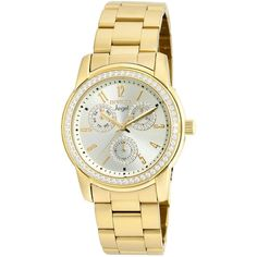 Invicta Womens Angel Stainless Steel Gold Tone Bracelet Watch 18990 ($127) ❤ liked on Polyvore featuring jewelry, watches, bracelet watch, leather-strap watches, invicta, analog watches and gold tone bracelet watch
