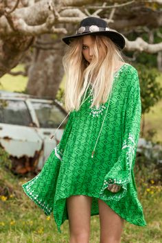 Leaping Water Kaftan - Green Sahara - Arnhem Clothing #R29MyStylist