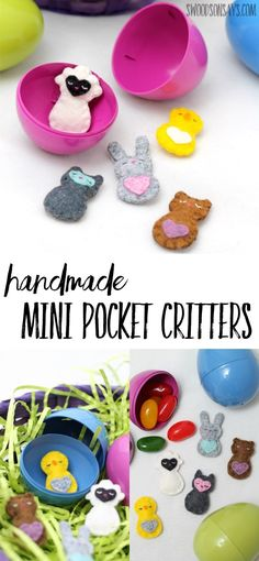 Looking for a fun felt project to sew? These mini pocket critters are teeny tiny, perfect for slipping into Easter eggs or into little pockets; they're all hand sewn and super sweet. A unique idea for handmade Easter egg fillers that aren't candy! #feltanimalsdiy