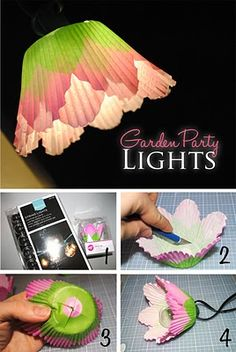 before you store your christmas lights away...re-use them as patio lighting and make your own little shades for them!