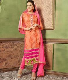 Buy Orange Chanderi Churidar Suit 77951 online at lowest price from huge collection of salwar kameez at Indianclothstore.com.