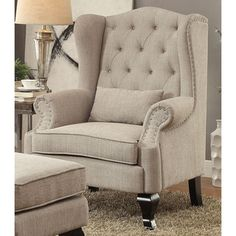 Shop for Furniture of America Irving Traditional Tufted Wingback Armchair. Get…