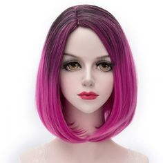 Charming Black Gradient Rose Fashion Centre Parting Capless Short Synthetic Straight Women's Cosplay Wig (OMBRE 1211#) in Cosplay Wigs | DressLily.com