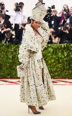 The pope of the Met Gala has arrived! No one but Riri could pull off this custom Maison Margiela look.