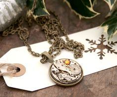 Unisex Necklace Steampunk Jewellery Cameo Necklace Watch Movementvic