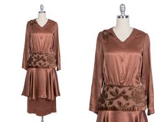 Vintage 1920s dress // 20s copper silk flapper by Duchessevintage