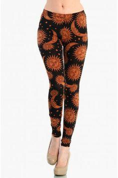 LoveMelrose.com From Harry & Molly   Golden Sun and Moon Leggings - Orange