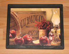 "PRIMITIVE COUNTRY APPLE OIL LAMP BASKET  9"" X 13"" WALL DECOR  #HANDCRAAFTED Primitive Wall Decor, Primitive Country, Primitive Pictures, Oil Lamps, Print Pictures, Basket, Apple, Frame, Prints"
