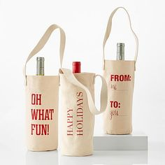 Mark And Graham Festive Classic Phrase Wine Totes, Set of 3 Wine Tote Bag, Tote Bags, Bottle Bag, Shark Tank, Wine Gifts, Wine Tasting, Holiday, Wine Subscription, Envelopes