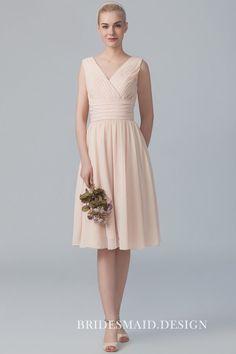 1de629fb2e6 Nude Chiffon Sleeveless V-Neck Simple Casual Short Bridesmaid Dress