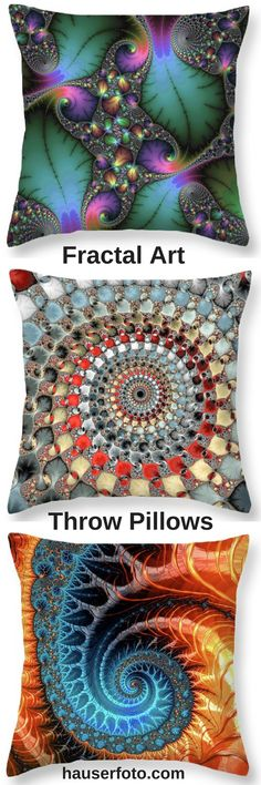 Throw Pillows for your bedroom or living room decoration. Fractal Art pillows are a perfect eyecatcher for every couch or bed. Check out more than 500 throw pillows, cklick here or on the image: http://matthias-hauser.pixels.com/collections/fascinating+fractals/throw+pillows 30 days money back guarantee on every purchase. Matthias Hauser hauserfoto.com - Art for your Home Decor and Interior Design needs.
