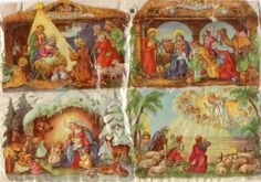 Vintage Die-Cut Paper Scraps/ Oblaten, EAS 3049 Christmas Nativity.