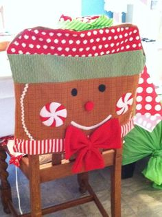 1000 images about christmas dining room chairs on for Christmas decorating ideas for dining room chairs
