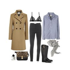 Dark grey skinny trousers, blue and white striped button-up shirt, long camel coat, black boots, grey scarf