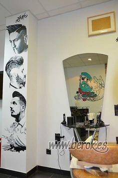 graffiti profesional Barbería Terrassa barberline Barber Shop Interior, Barber Shop Decor, Best Barber Shop, Home Hair Salons, Barber Tattoo, Graffiti, Salon Stations, Barbershop Design, Salon Design