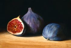 "Tanja Möderscheim: ""Three Figs,"" oil on wood, 13cm x 18cm"