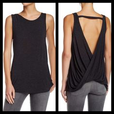 """SaleBlack Draped Back Tank Top High End Blend w/ Soft Heathered feel and look. Perfect for  layering or on its own. This top easily is dressed up or down. Pair it with a Long black fitted maxi skirt and wide belt and your ready for the night. This is shown in my Palazzo pant listing. Crew neck, Sleeveless,Open Back•@27"""""""" total length• 94% Rayon & 6% Spandex• Hand Washing is recommended• Heather by Bordeaux Tops Tank Tops"""