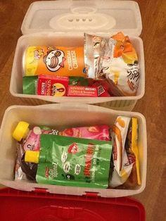 """Old baby wipes container as a snack box for a long car trip - 1 for each kid LOVE THIS IDEA! Could also be nice idea for camping. """"this is your snack box for the day"""" Plus if everyone doesn't stick by the site, it'll be easy to send a child with their box Long Car Trips, Bus Trips, Baby Wipes Container, Snack Containers, Formula Containers, Reuse Containers, Formula Cans, Plastic Containers, Boite A Lunch"""