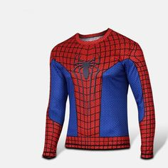 3D Digital Printing spiderman Outdoor sports t-shirt XS-4XL