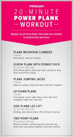 Printable 20-Minute Plank Workout For the Flat Abs You've Always Wanted