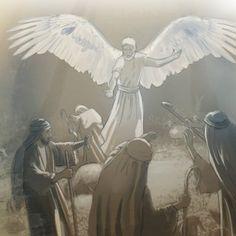 O anjo de Jeová falando com pastores perto de Belém